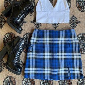 Blue Plaid Dina Skirt by Motel